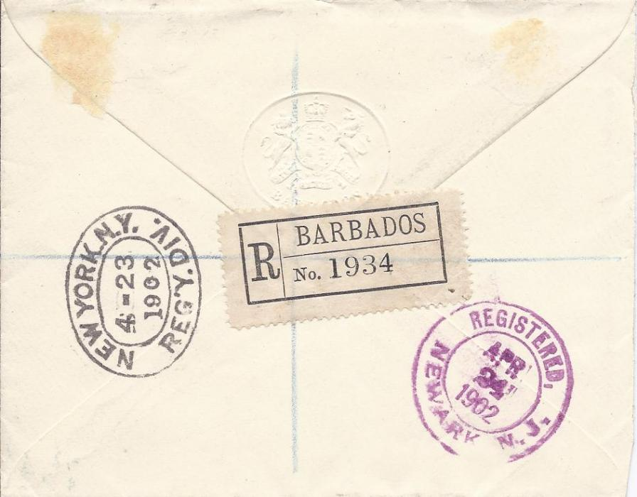 Barbados 1902 registered cover to Newark, United States, franked 1/4d. (2), 1/2d., 2d. and 6d. tied Barbados cds, oval-framed R, reverse with registration label, New York transit and arrival date stamp.