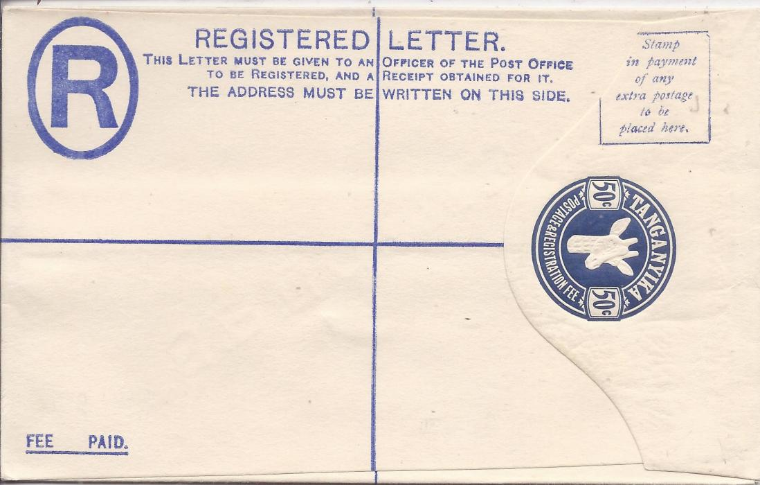 Tanganyika 1923 50c, size G, �Giraffe� registration envelope diagonally overprinted SPECIMEN on reverse; fine condition.