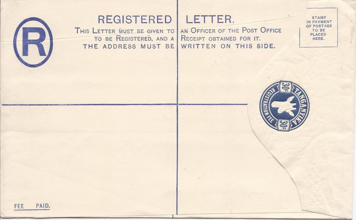 Tanganyika 1925 30c, size H, �Giraffe� registration envelope diagonally overprinted SPECIMEN on reverse,  fine condition.