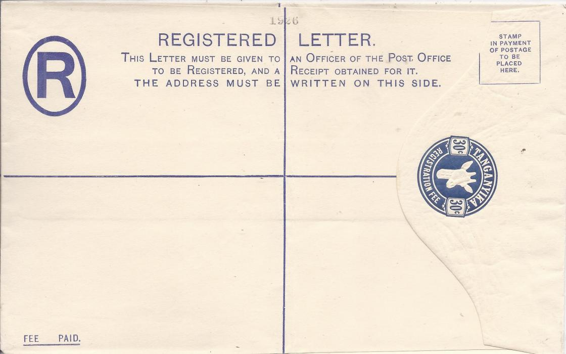 Tanganyika 1925 30c, size H, �Giraffe� registration envelope diagonally overprinted SPECIMEN on reverse, front bearing archival 1926 at top; central vertical crease