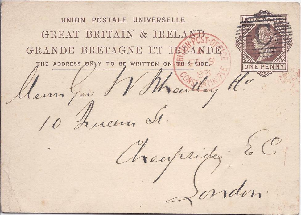 British Levant 1883 Great Britain unoverprinted 1d. stationery card  to London cancelled by fine 'C' obliterator and equally fine British Post Office Constantinople cds; a fine example.