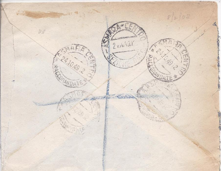 British Occupation of Former Italian Colonies Eritrea: 1949 registered cover to London franked 20c. on 2d. and 2s50c. on 2/6d. tied Asmara cds, further group of Asmara cancels on reverse; envelope roughly opened out for display.