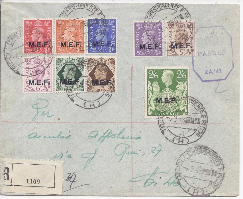 British Occupation of Former Italian Colonies (M.E.F.) 1943 (4.9.) registered censored cover bearing short set to 2/6d. tied Tripoli Correspondenze E Pacchi (R). Blank registration label bottom left, further despatch cancels on reverse.