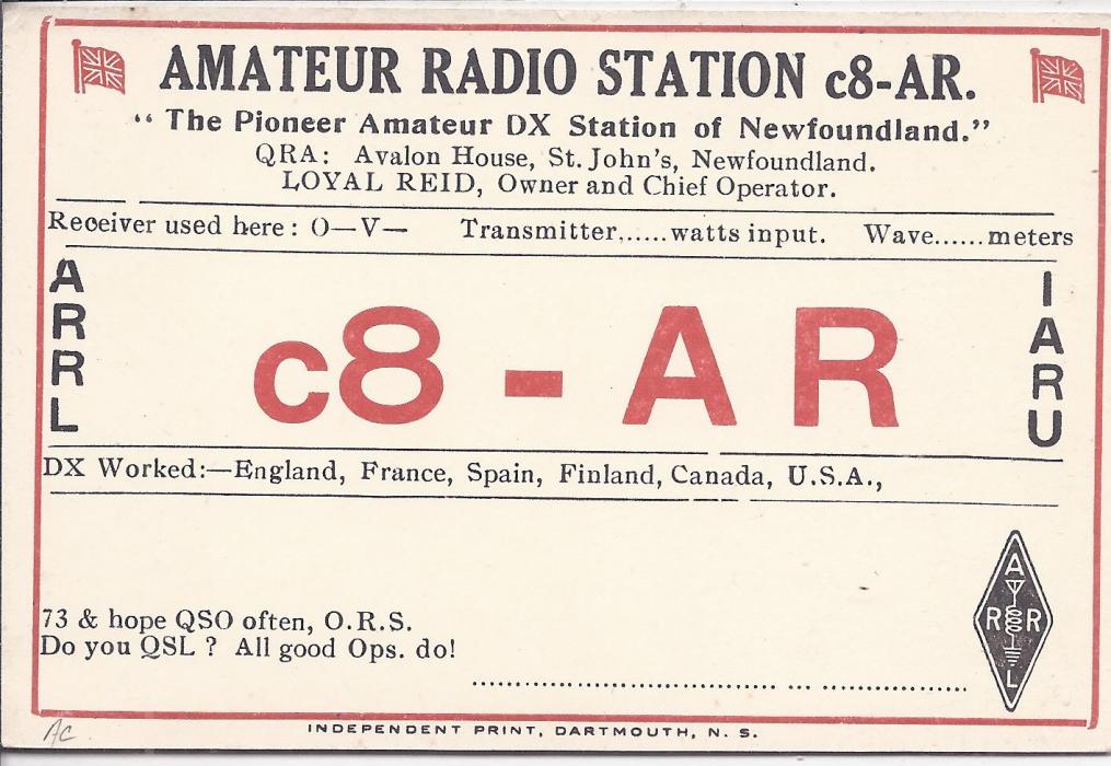 Canada Newfoundland 1920s  1d postal stationery card with printed �Amateur Radio Station� report on reverse; very fine condition.