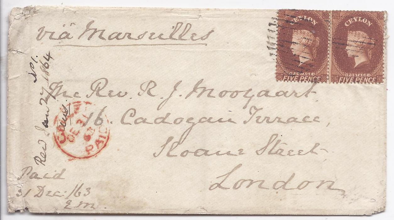 "Ceylon 1863 cover to London franked pair 1861-64, perf 14 5d. tied bar grid cancels, red Calle Paid cds at left, endorsed ""via Marseilles"", arrival backstamp;slight faults to envelope at left, fresh condition."