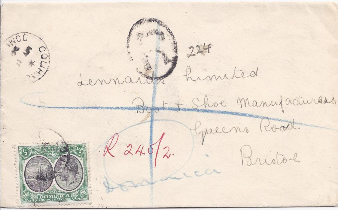 Dominica 1929 registered cover to Bristol, franked 1923-33 �d (on front) and 1d. block of four (on reverse) cancelled Colihaut cds, manuscript registration, Dominica and London transit backstamps.