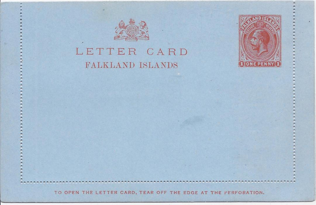 Falkland Islands (Postal Stationery) 1913 1d. red on blue letter card very fine unused.