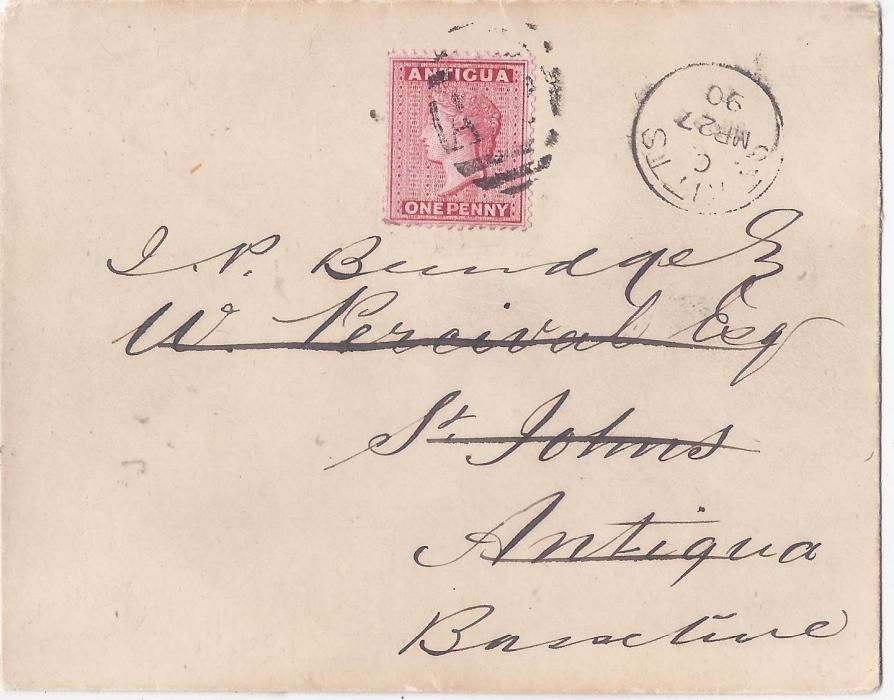 Saint Christopher 1890 'Percival' re-addressed 'Burridge' cover to Basseterre with provisional use of Antigua Queen Victoria 1d. rose (SG 26) tied by 'A12' numeral with St. Kitts index c cds of MR 27; fine and scarce.