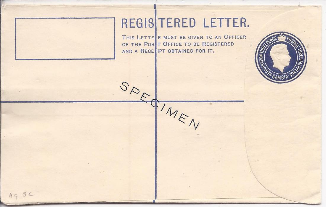 Gambia 1937 3d. registered postal stationery envelope, size G, overprinted SPECIMEN diagonally on front. This envelope is only known overprinted specimen; fine condition.