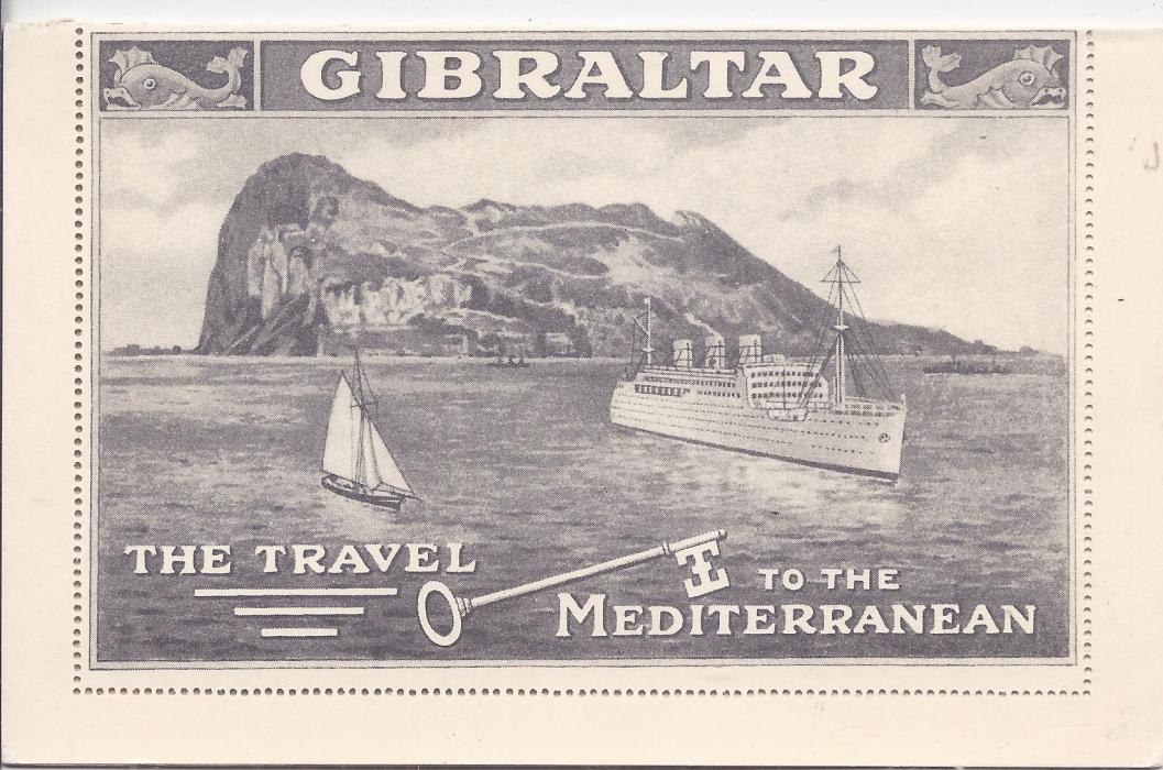 Gibraltar (Picture Postal Stationery) 1938 2d grey on cream in colourless embossing, reverse with picture of ships with Gibraltar in the background; fine unused.