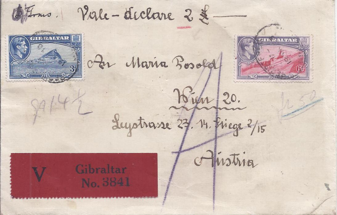 Gibraltar (Insured Letter) 1938 cover to Austria, insured at 2� with red V label at base, franked 3d. and 6d. tied registered date stamps, reverse with Napoli Ferrovia Estero cds and framed insurance handstamp, Udine Ferrovia cds of following day and Amb Roma Trieste 137 cds incorrectly dated; fine and fresh.