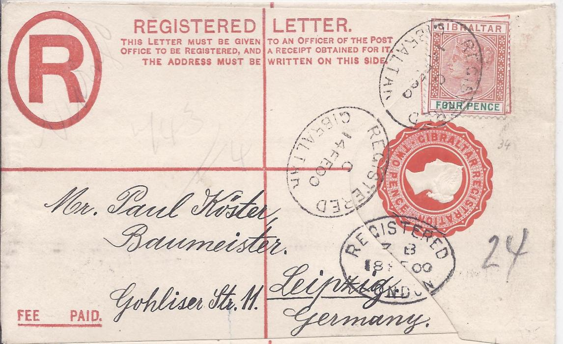Gibraltar (Registered Stationery) 1900 2d. envelope, size F,  to Leipzig Germany uprated with 4d. cancelled Registered oval date stamps, London transit tying image at base, reverse with arrival cds.
