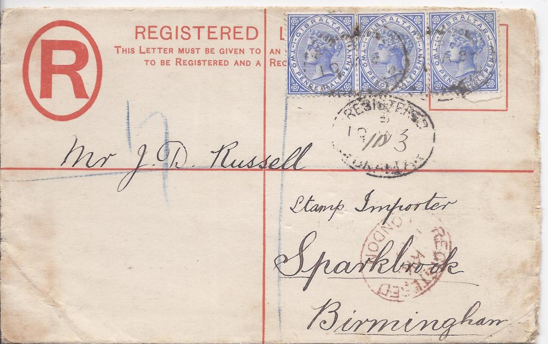 Gibraltar (Registered Stationery) 1888 2d. envelope, size G,  to Birmingham uprated three 2�d. cancelled Registered oval date stamps, London transit at base, reverse with arrival cds just tying image; envelope opened-out for display