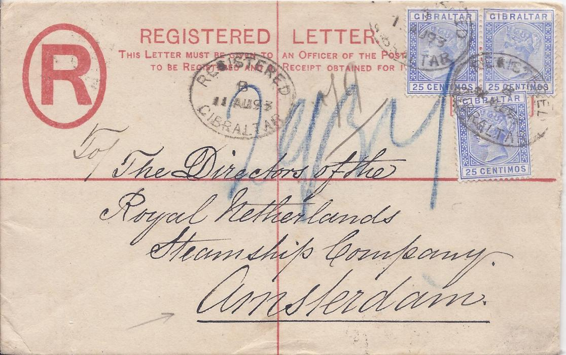 Gibraltar (Registered Stationery) 1893 20c. envelope, size G, to Amsterdam uprated three 25c. cancelled Registered oval date stamps,arrival backstamp.