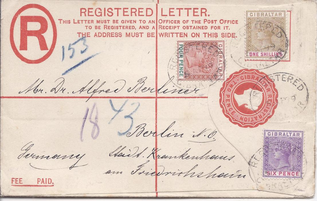 Gibraltar (Registered Stationery) 1899 2d. envelope, size G, to Berlin uprated 4d., 6d. and 1s. tied registered cancels, arrival backstamp; fine and attractive.