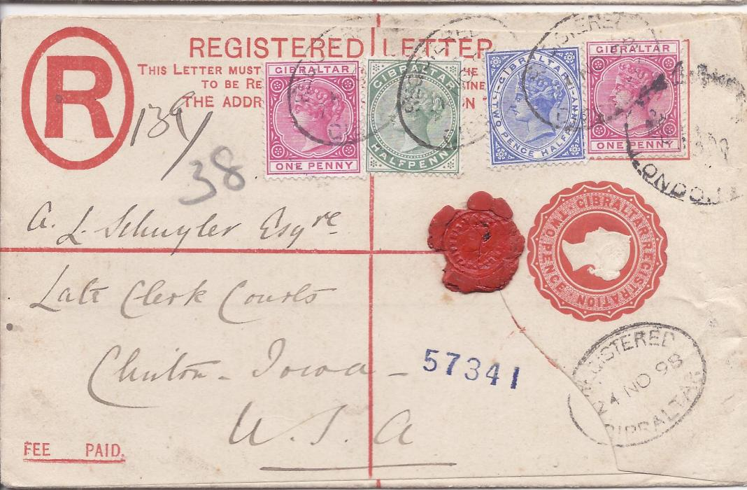 Gibraltar (Registered Stationery) 1898 2d. envelope, size G,  to Clinton, Iowa, USA uprated �d., 1d. (2) and 2�d. tied registered cancels, London transit at right arrival backstamp.