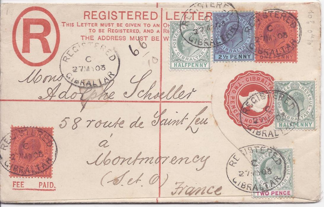 Gibraltar  (Registered Stationery) 1903 2d. Queen Victoria envelope, size G,  to Montmorency, France uprated King Edward VII  �d. (2), 1d. (2), 2d.  and 2�d. tied registered cancels, arrival backstamp.