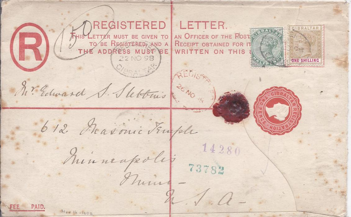 Gibraltar (Registered Stationery) 1898 2d. envelope, size H,  to Minneapolis, USA uprated �d. and 1s. tied registered cancels, red London transit on front, arrival backstamp; some tone spotting