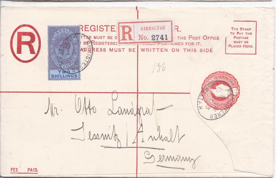 Gibraltar (Registered Stationery) 1913 2d. envelope, size H,  to Jessnitz, Germany uprated 2s  tied registered cancel, arrival backstamp; fine unfolded envelope with high value stamp.