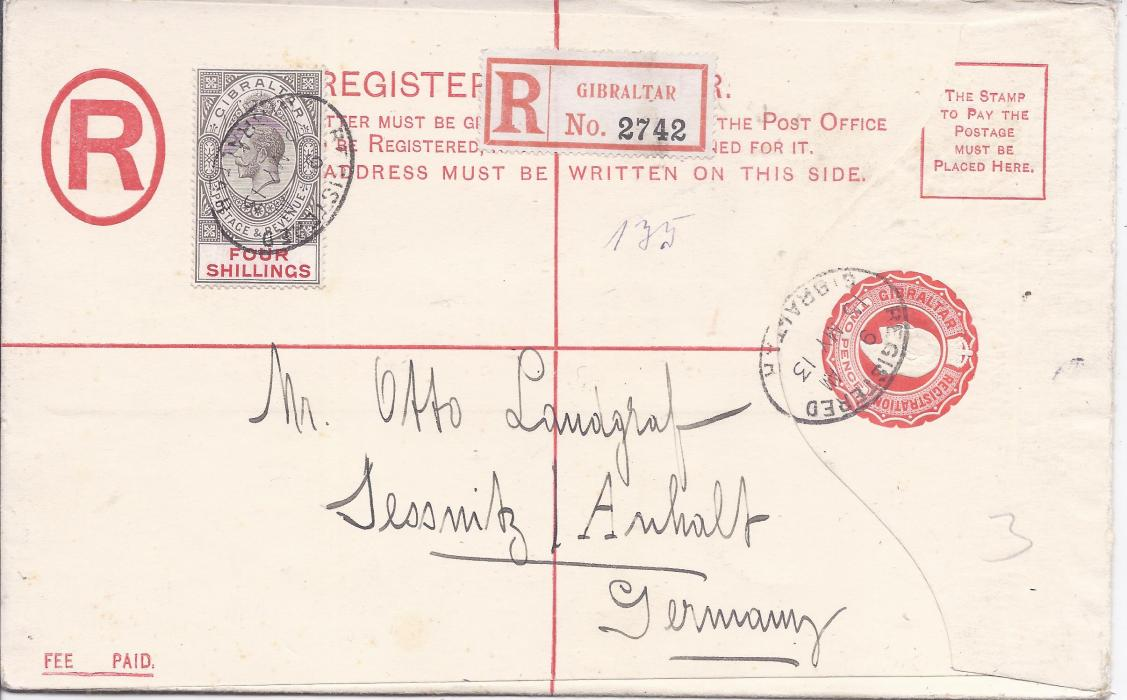 Gibraltar (Registered Stationery) 1913 2d. envelope, size H,  to Jessnitz, Germany uprated 4s  tied registered cancel, arrival backstamp; fine unfolded envelope with high value stamp.
