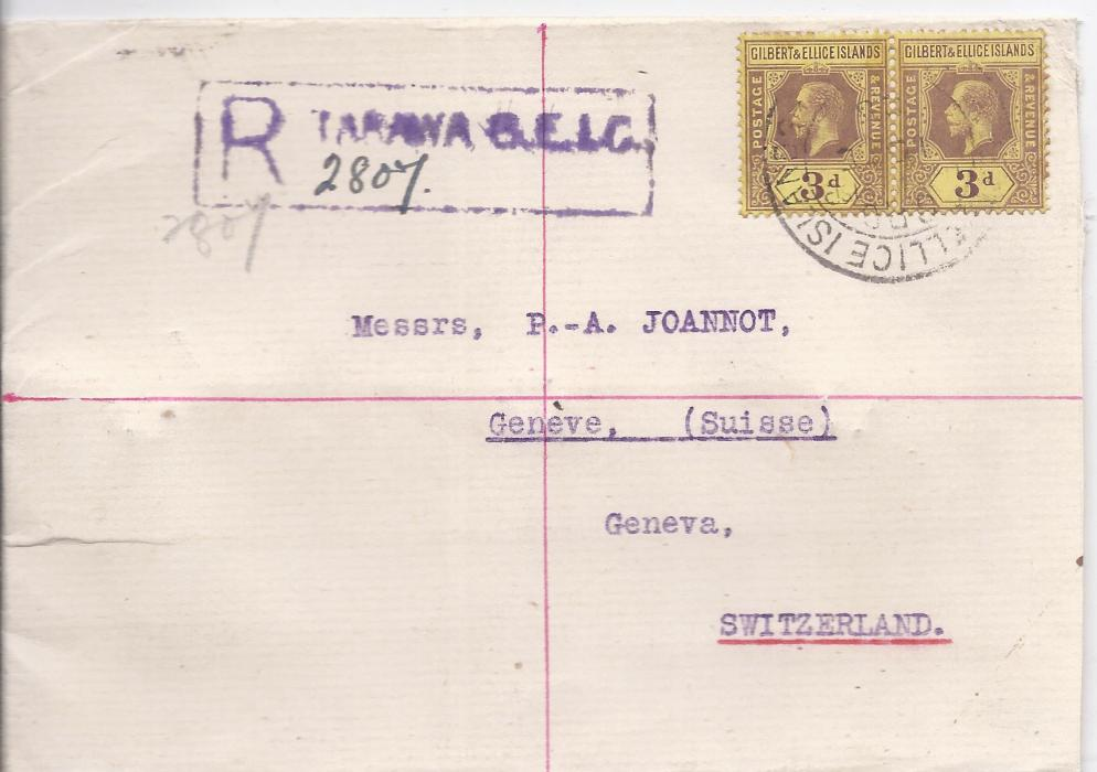 Gilbert & Ellice Islands 1928 registered cover to Switzerland franked pair 3d. purple/yellow tied unclear date stamp but to left fine violet Tarawa G.e.I.C. registration handstamp with manuscript number, reverse with London transit and arrival cds.