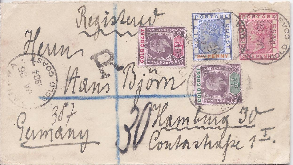 Gold Coast 1904 1d. Queen Victoria postal stationery envelope registered to Germany uprated by 1894-91 2�d. plus KEVII 1902 �d. and 1d. tied Tarkwa cds, small unframed �R� and manuscript number, reverse with Sekondi transit, Registered London transit and Hamburg arrival cds.