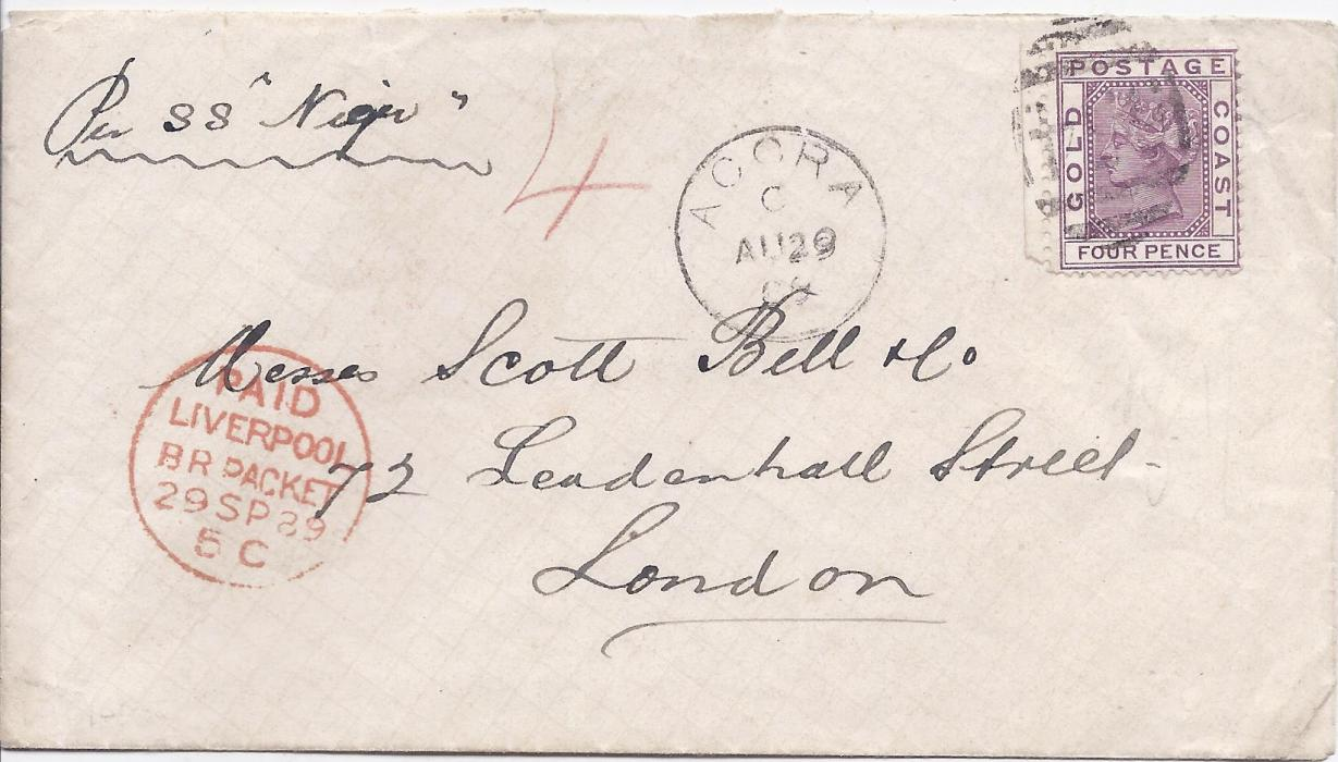 Gold Coast 1889 cover to London, endorsed �Per SS Niger� and bearing single franking left-hand marginal 1884-91 4d. deep mauve tied �554� obliterator, Accra cds to left, Liverpool transit at left, without backstamps.