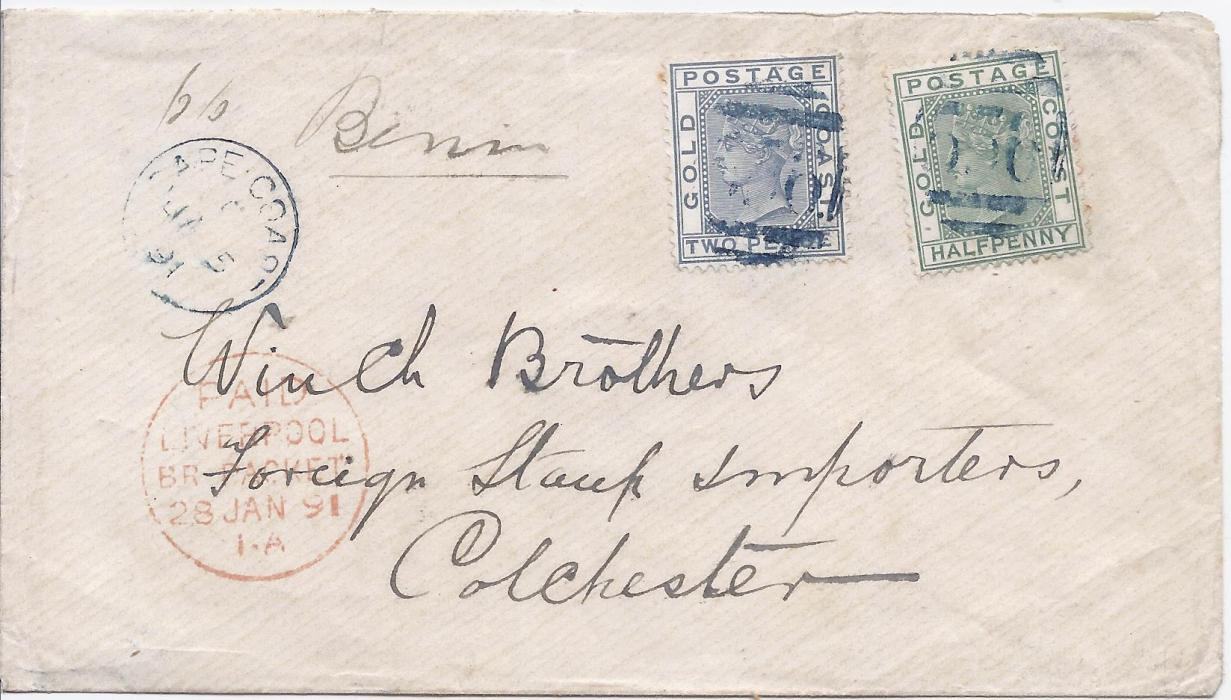 "Gold Coast 1891 cover to Colchester, endorsed ""SS Benin"" franked 1/2d. green and 2d. tied 556 obliterator, Cape Coast cds in association at left, Liverpool transit, arrival backstamp."