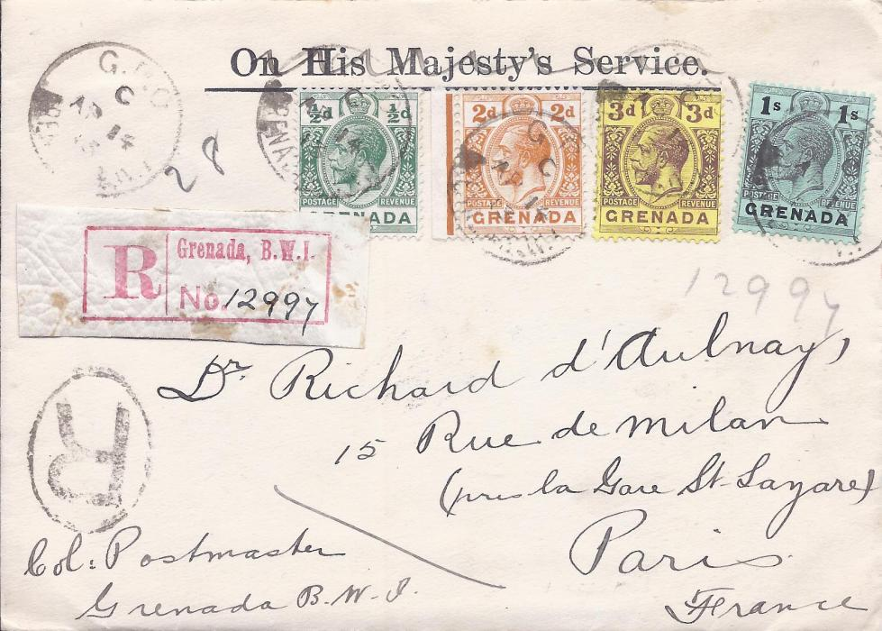 Grenada 1913 registered cover to Paris franked �d., 2d., 3d. and 1s. tied G.P.O. cds, red registration label at left, London transit backstamp. With contents, a letter from Post Office detailing the stamps enclosed.