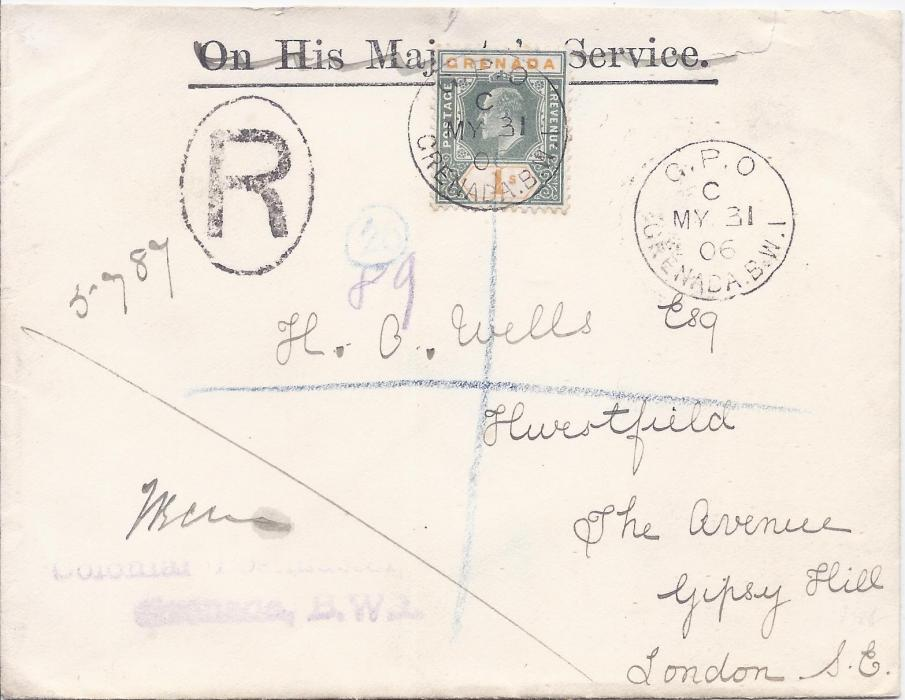 Grenada 1906 (MY 31) registered cover from Colonial Postmaster to London bearing single franking 1904-06 1s tied G.P.O. cds; roughly opened at top with slight faults, the stamp showing fine original colour.