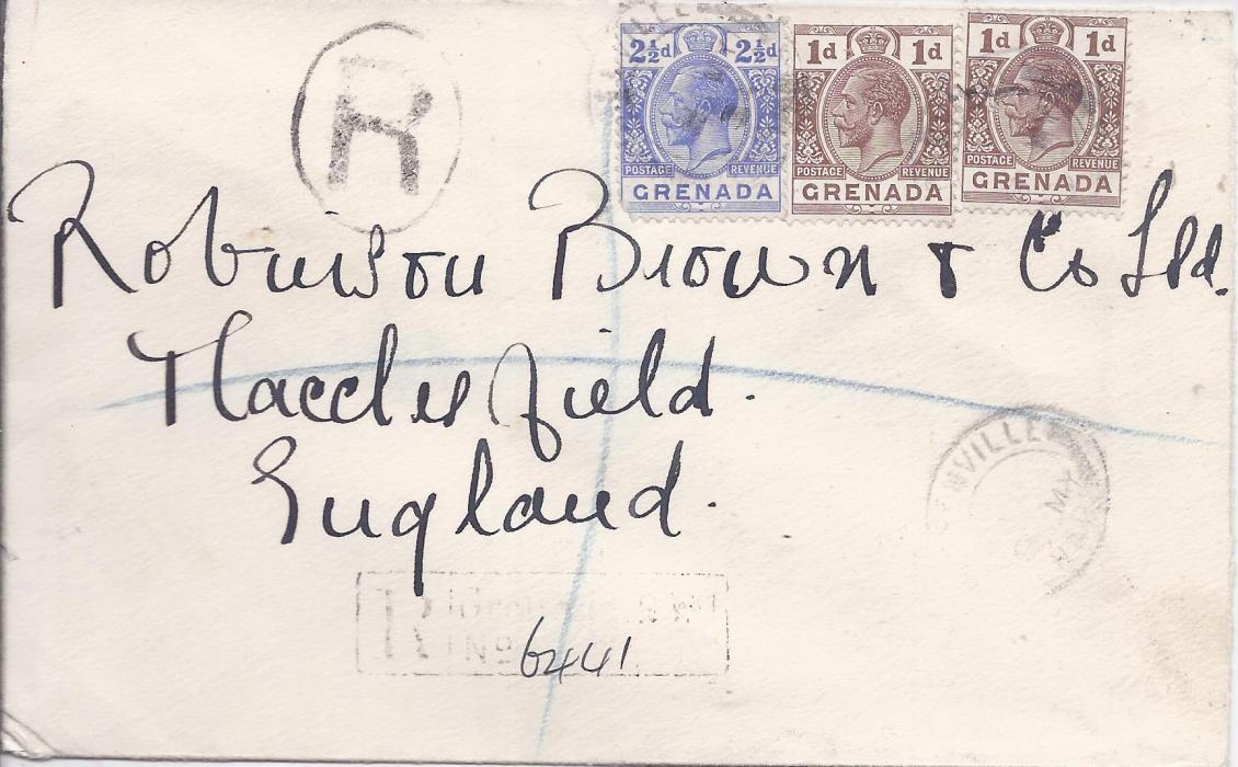Grenada 1934 (8 MY) registered cover to England franked 1d. (2) and 2�d. tied Greneville distorted cds, registration handstamps, four more despatch backstamps together with G.P.O. cancel of next day and arrival cancel.
