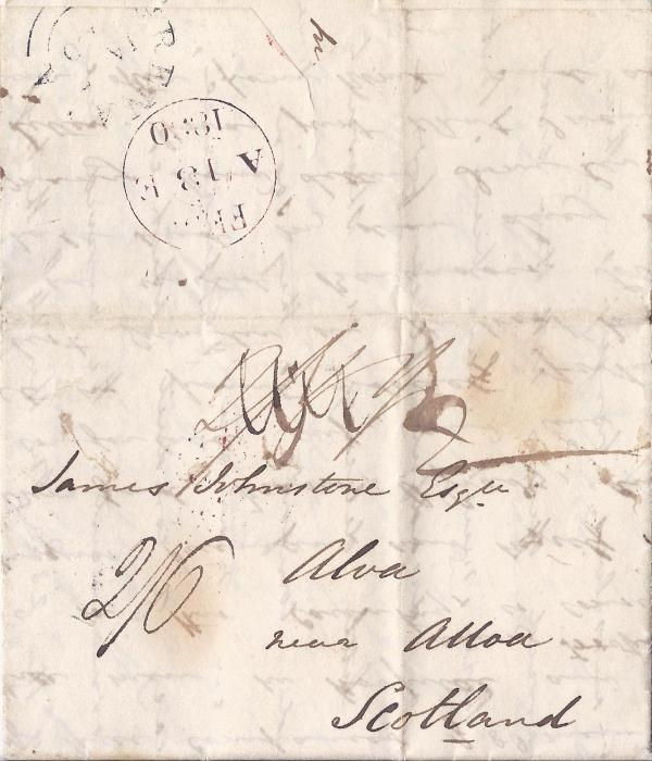 Grenada 1830 cross-written entire to Alva, near Alloa, Scotland, amended manuscript rates with final �2/6�, plus � � � for local carriage, reverse with double arc Grenada date stamp and British arrival cds.