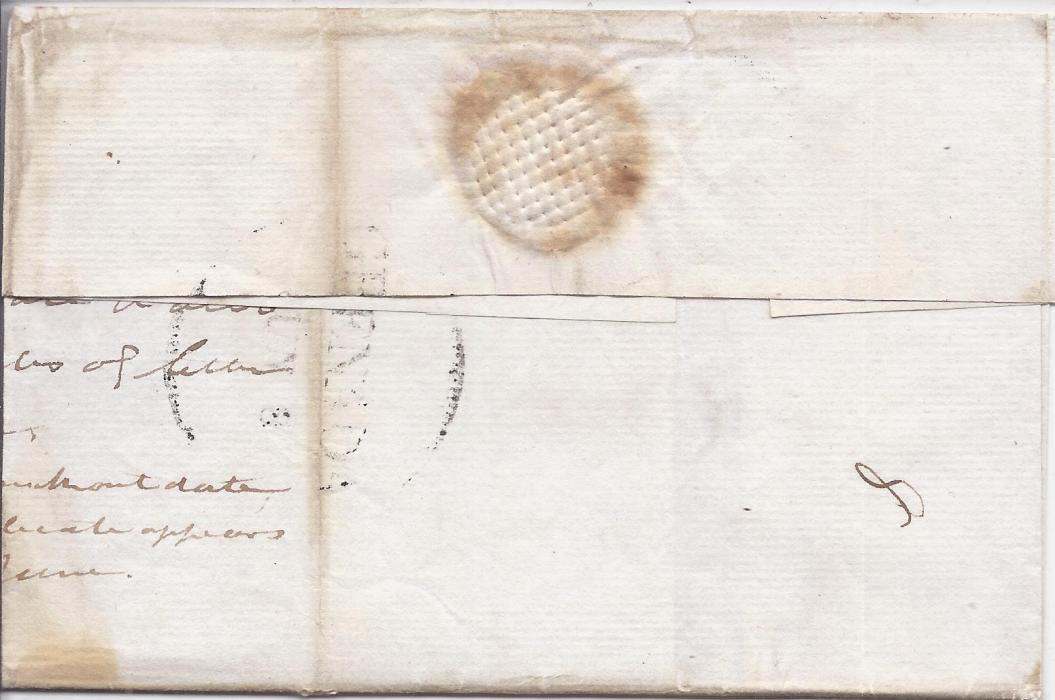 Grenada 1808 outer letter sheet annotated to once containing duplicate letters, �4/-� manuscript rating with �8� added, reverse with  part large GRENADA date stamp which is affected by vertical filing crease.