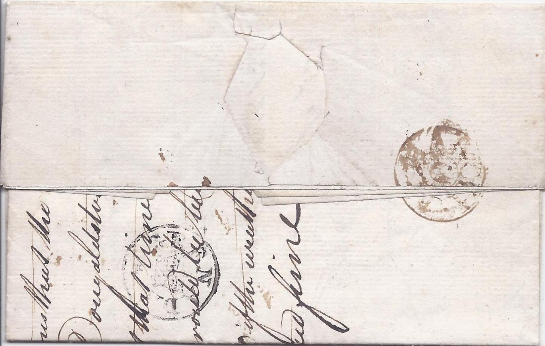 Grenada 1786 entire to London with, on reverse reasonable strike of Grenada/ (Crown) handstamp, arrival cancel at right, horizontal filing crease.