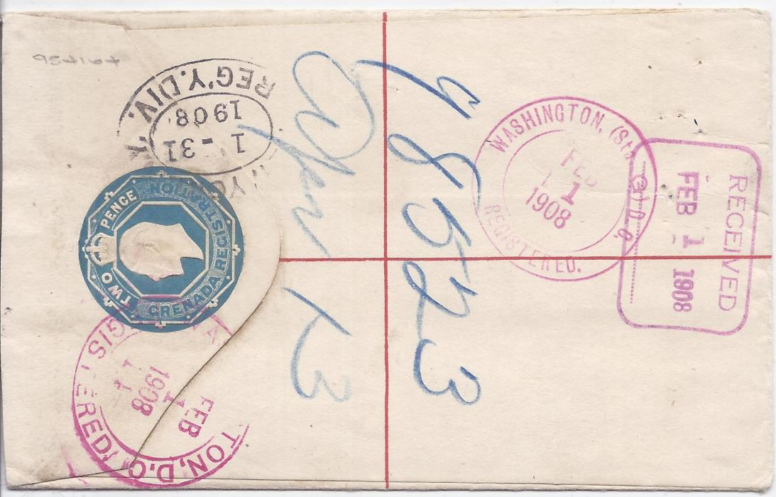 Grenada Postal Stationery: 1908 2d. registration envelope, size F, to Washington and uprated with five 1/2d. tied G.P.O. cds, New York transit and arrival backstamps.