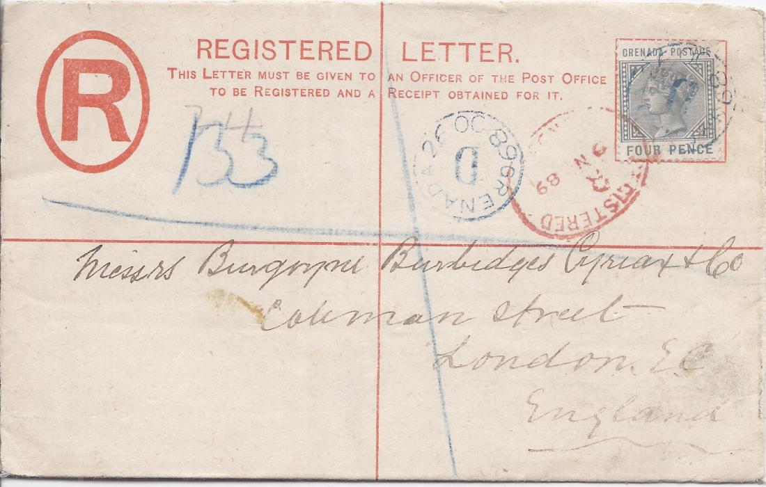 Grenada 1889 2d. registration envelope, size G, Thos. De La Rue & co. Patent, to London uprated 4d. tied by blue GRENADA 26 OC 68/ D, red London arrival also tying stamp, reverse with Grenada cds.