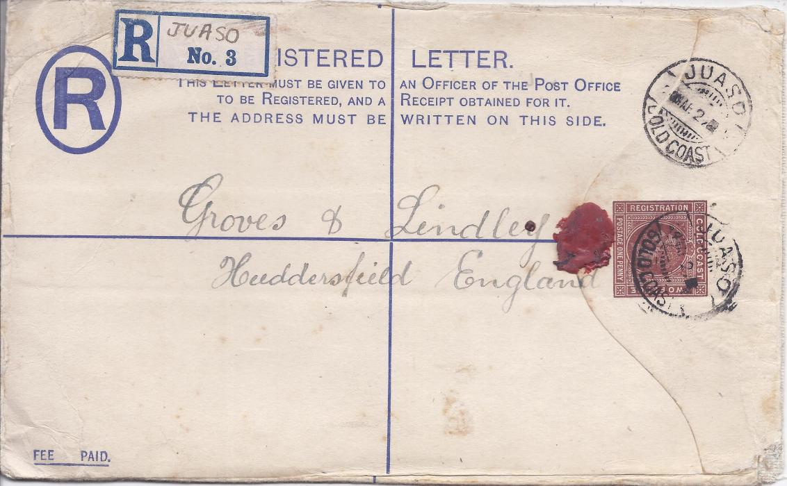 Gold Coast 1920s 3d. registration postal stationery envelope to Huddersfield, uprated with 2d. and cancelled Juaso cds, registration label with printed number3 and manuscript town name, reverse with Coomassie transit date stamp; corner crease affecting stamp and other slight faults, a scarce cancel.