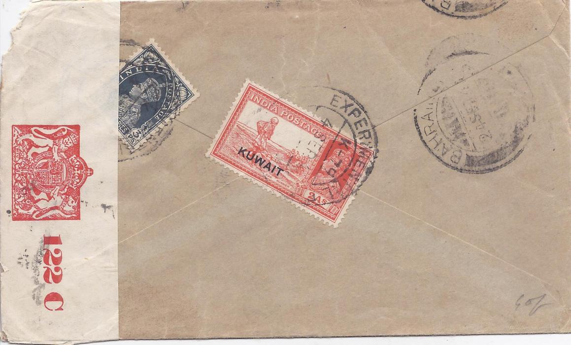 Kuwait 1941 (4 Sep) censored airmail cover to Bombay, franked on reverse at 2a 3p by 1939 2a vermillion in combination with India 1937-40 3p. slate, tied by individual strikes of temporary EXPERIMENTAL P.O./ K-79 CDS, WITH Bahrain transit cds alongside. Resealed by red on white censor label that is tied on front. Some slight faults to envelope, a rare usage with the temporary cds in use 10 June to 30 Sept �41 only.