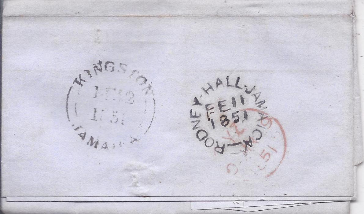 Jamaica 1850 and 1851 pair of entires to London showing two different types of Rodney Hall despatch cancels as well as different Kingston transits; good condition.