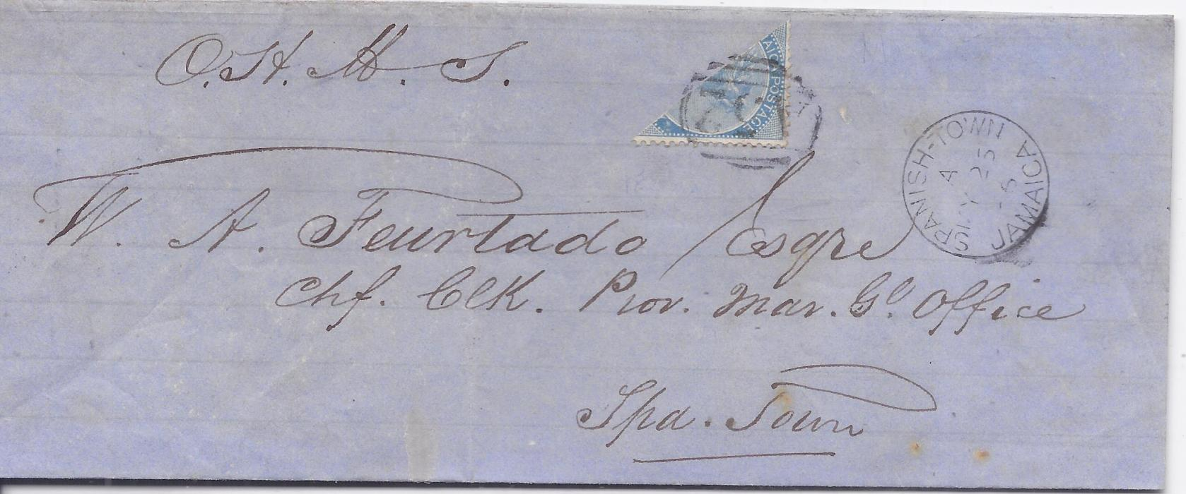 Jamaica 1866  O.H.M.S. wrapper used to Spanish Town franked by bisected 1d. tied A52 obliterator with cds of Mandeville in association on reverse, front bearing arrival cancel; some slight tones, (S.G. 1d.)