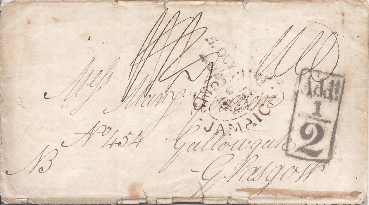 "Jamaica 1815 (18 Aug) entire from John Fergus to Falmouth with some interesting content, with a N.B. addition reading ""I am sorry to say that Port Royale is most all burnt down about four weeks before our arrival here"". Ship Letter Jamaica oval crown handstamp, rate markings and ""1/2"" local carriage charge handstamp. Some peripheral faults to entire."