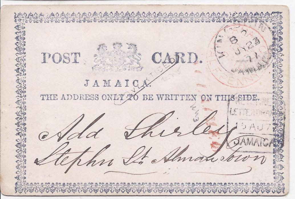 Jamaica 1877 formula stationery card used within Kingston bearing red Jamaica Paid One Penny cds overstruck Kingston cds,  small black framed �ADVERTISED� top centre, less clear red straight-line handstamp and framed Returned/ Letter Branch date stamp of 15.AU.77 (The first day of use as noted in Proud).