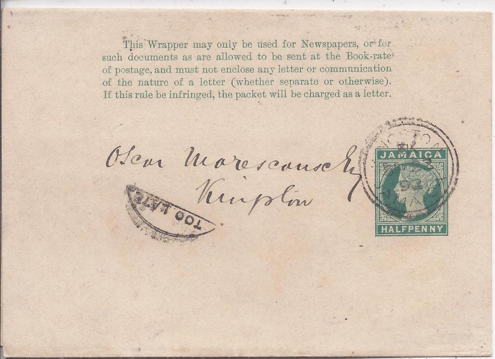 Jamaica 1893 �d stationery wrapper used within Kingston bearing good strike at left of  small Too Late handstamp; fine condition