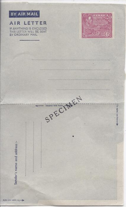 Jamaica 1947 6d Priestman�s River stationery Air Letter diagonally overprinted SPECIMEN whilst item was unfolded. Now folded otherwise fine and scarce.