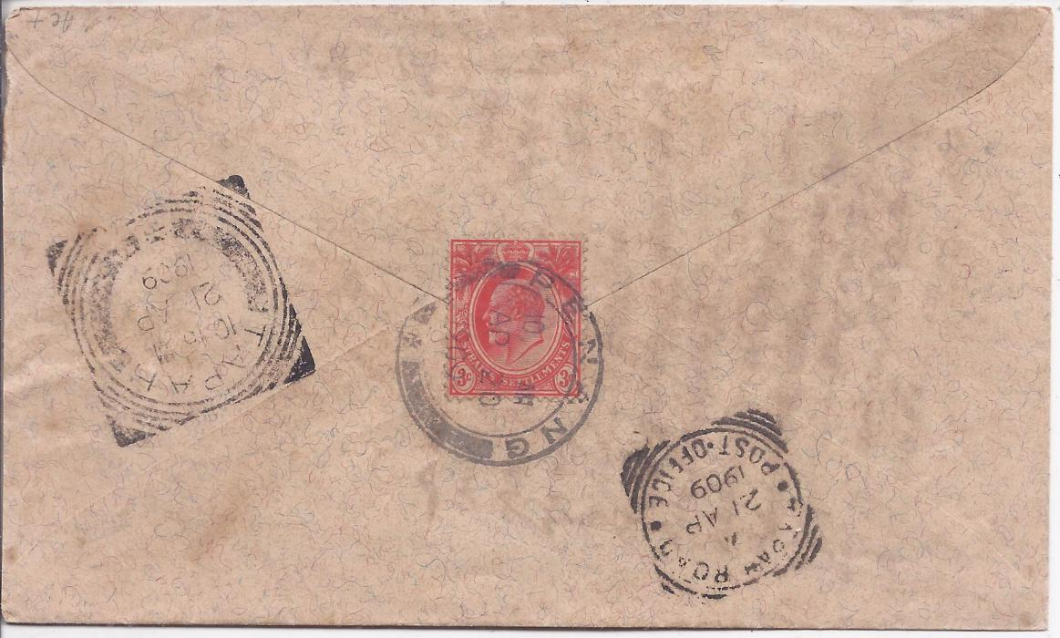 Malaya Perak: 1909 3c. cover from Penang to Tapah with fine square circle arrival date stamp.