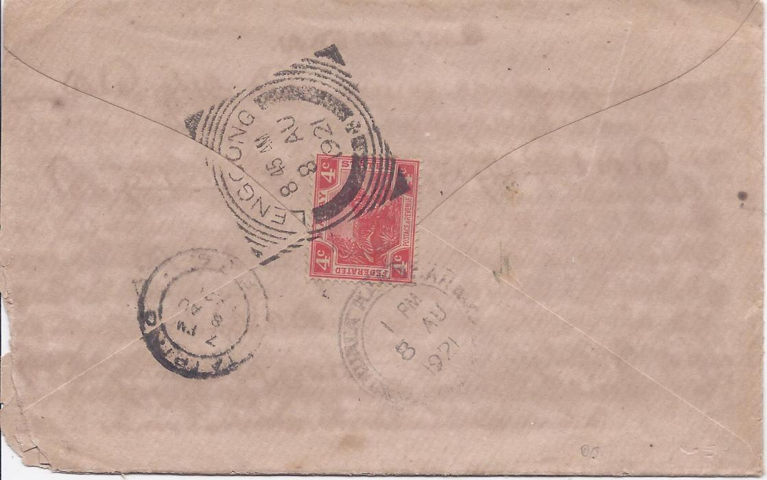 Malaya Perak: 1921 cover franked 4c. tiger tied square circle Lenggong date stamp with a further stirke on front, transit and Taiping arrival cds.