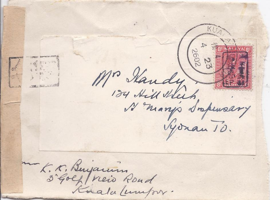 Malaya Japanese Occupation: 1942 part cover to Syonan bearing single franking 8c. scarlet of Perak tied Kuala lumpur cds, censor tape at left tied front and back with framed handstamp; scarce stamp on cover.