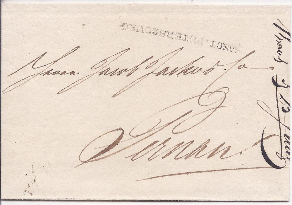 Russia 1812 entire to Pernau bearing straight-line SANCT.PETERSBOURG handstamp. A fine early example of this cancel.