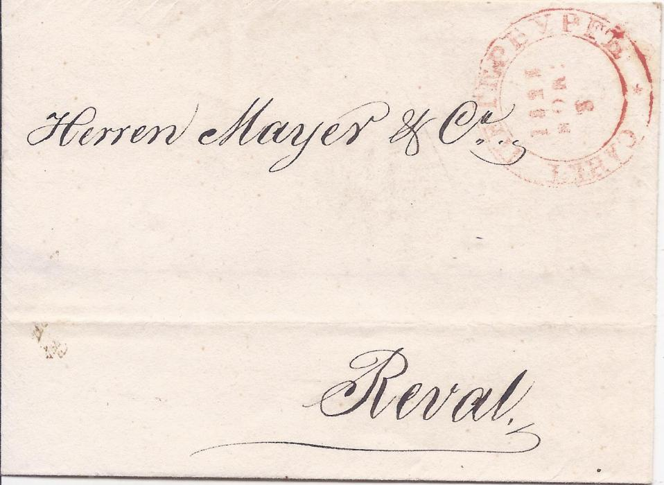Russia 1823 outer letter sheet to Reval, Estonia bearing cyrillic SANKT PETERBURG with single small star at the bottom (Dobin 1.05; Baille & Peel 1B(RT) 2v1). This rare cancellation was used in late 1822 and 1823.