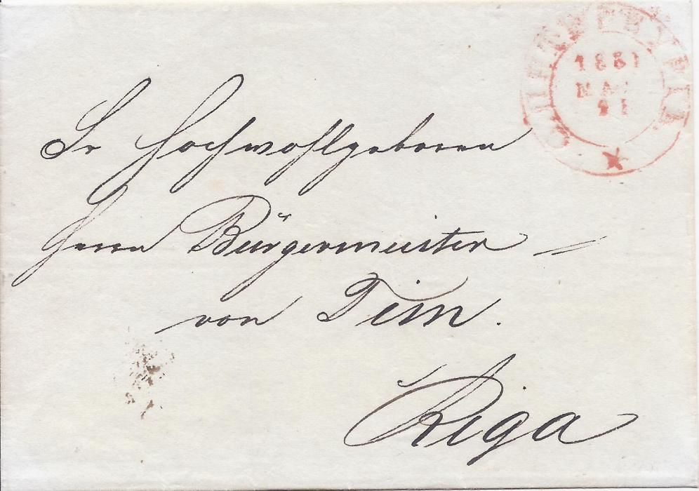 Russia 1831 envelope to Riga, Latvia bearing rare red cyrillic Sankt Petersburg with single large 5 pointed star at base (Not in Dobin, Baillie & Peel 1B(R)3v2). This rare cancel was used in late 1829 and 1831.